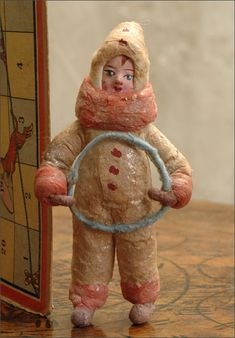 Antique Christmas cotton ornament GIRL WITH HOOP