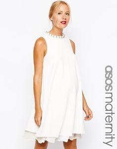 ASOS Maternity | ASOS Maternity Textured Swing Dress with Pearl Neck Trim at ASOS