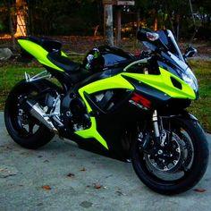 Whoa. Definitely wear a helmet. #Suzuki #GSX #limegreen #motorcycle #luxury #bike #superbike