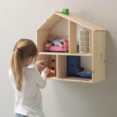 Kids Wall Shelves, House Shelves, Doll House Book Shelf, Childrens Shelves, Ikea Dollhouse, Wooden Dollhouse, Dollhouse Shelf, Toy House, House Wall