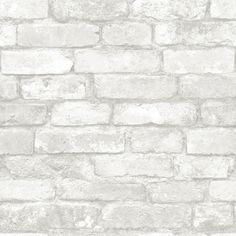 Brick Discover NuWallpaper Grey and White Brick Peel And Stick Wallpaper - The Home Depot WallPOPs sq. Grey and White Brick Peel and Stick - The Home Depot White Brick Wallpaper, Brick Effect Wallpaper, White Brick Walls, Grey Brick, Vinyl Wallpaper, Peel And Stick Wallpaper, Temporary Wallpaper, Wallpaper Roll, Adhesive Wallpaper