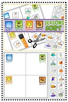 Cut Paste: Sort objects and activities by season. Write or draw about your favorite season (templates included). First Grade Science, Kindergarten Science, Science Classroom, Teaching Science, Teaching Resources, Teaching Ideas, Classroom Ideas, Sorting Activities, Science Activities
