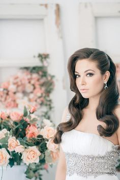 Wedding Hairstyles ~ Sleek long locks, neutral make-up & earrings