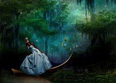 Princess And The Frog - girl, frog, boat, princess, swamp, bayou, story