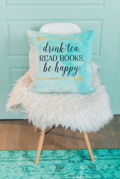 drink tea read books be happy turquoise throw pillow - 18x18, velvet pillow, tea lover pillow, home decor, watercolor, new home gift,