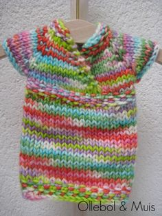 """Knitted Waldorf doll dress 10"""" , slim fit. Handknitted by Ollebol & Muis"""
