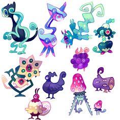 Revealeon - Floraverse Fantasy Character Design, Character Design Inspiration, Character Concept, Character Art, Creature Concept Art, Creature Design, Cute Creatures, Fantasy Creatures, Alien Design