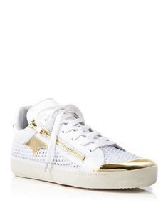 Ash Flat Lace Up Perforated Sneakers - Shy