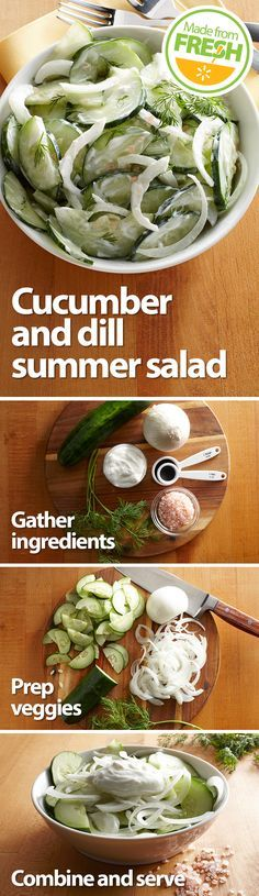 Fresh, crisp cucumbers, onions and tangy dill mix with creamy yogurt to create this cool, refreshing summer salad. It's so good, you'll want to make more than one batch. Find these fresh ingredients at your local Walmart.
