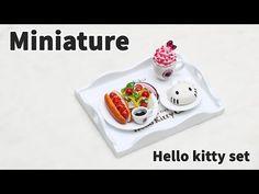 미니어쳐 헬로키티 세트 만들기 (핫도그,샐러드,핑크블라썸,키티 레어치즈무스케이크) * Miniature - YouTube