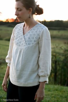 Sashiko Embroidered Zsayla Top | Sewing Pattern by Kate & Rose | Radiant Home Studio - Anthropologie inspired blouse - boho chic style