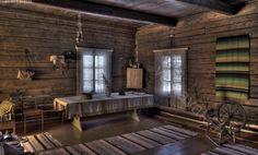 Vanha tupa III - vanha tupa talo  pirtti hirsi hirsitalo hirret koti asumus vanhanaikainen rakennus sisätila ikkunat mökki asunto asuminen maalaistalo maatalo maaseutu huone omakotitalo perinne pöytä nurkka