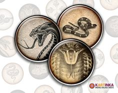 SNAKE LUCKY CHARMS 1' inch Circles for Pendants by KARTINKAshop, $3.50