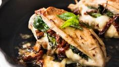 Sun Dried Tomato, Spinach & Cheese Baked Stuffed Chicken Breast
