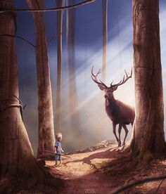 Forest encounters - Digital Art by Dresew