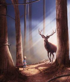Forest encounters - Digital Art by Dresew