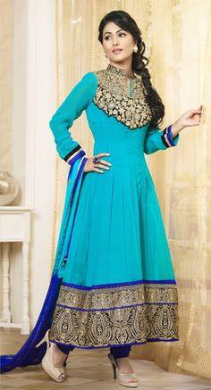 Hina Khan Baby Blue Anarkali Suit – Lashkaraa
