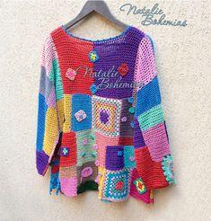 Crochet Free Form Squares and Moda Crochet, Crochet Cord, Crochet Granny, Free Crochet, Plus Size Sewing Patterns, Crochet Patterns, Knitted Poncho, Crochet Cardigan, Beautiful Crochet