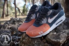 """Nike Gel Max 90 """"Salmon Toe"""" Custom    """"The Ronnie Fieg x ASICS Gel Lyte III """"Salmon Toe"""" is a favorite in the sneaker community. The..shoe is the inspiration behind the Nike Gel Max 90 """"Salmon Toe"""" Custom. ... Specific features come in the form of a split tongue... Head over to JWDanklefs Customs..and contact Jake Danklefs for all inquiries."""""""