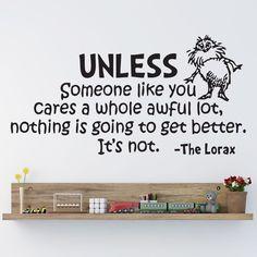 Amazon.com: HUANYI Dr Seuss The Lorax Unless Someone Nursery Wall Art Vinyl Sticker Decal Mural: Home & Kitchen