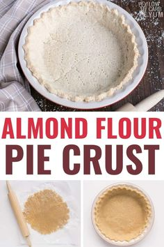 Keto almond flour pie crust is easy to make and wonderfully flaky. It's the perfect crust to use with all your favorite low carb pie recipes! Diabetic Pie Recipe, Low Carb Pie Recipe, Low Carb Pie Crust, Easy Pie Crust, Pie Crust Recipes, Diabetic Snacks, Low Sugar Desserts, Low Carb Deserts, Dessert Recipes