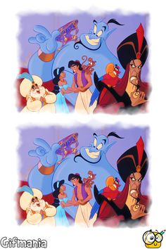 Spot 6 differences of Aladdin activity page Disney Activities, Disney Games, Printable Activities For Kids, Worksheets For Kids, Spot The Difference Kids, Aladdin Party, Instagram Story Questions, Hidden Pictures, Different Games