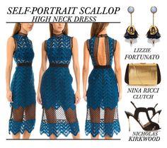 """Self-Portrait Scallop High Neck Midi Dress"" by latoyacl ❤ liked on Polyvore featuring Nicholas Kirkwood, self-portrait, Lizzie Fortunato, Nina Ricci, women's clothing, women's fashion, women, female, woman and misses"