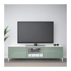 BESTÅ MblTV+cpt - blanco Selsviken/alto brillo/gris verde claro vidrio incoloro, riel para cajón con cierre suave - IKEA