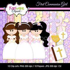 First Communion Girl - $3.50 : Karivane Clipart: Graphic Design, Digital Scrapbooking