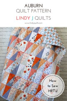 Half Rectangle Triangle Quilt - HRT Quilt - Auburn Baby Quilt - Lindy J Quilts