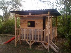 Kids Playhouse Made Out Of Pallets Kids Projects With Pallets Pallet Huts, Cabins & Playhouses