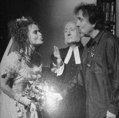Helena Bonham Carter and Tim Burton on the set of Sweeney Todd