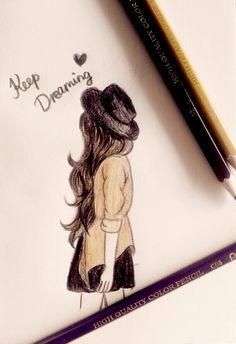 art, girl, and draw image - Art Sketches Girl Drawing Sketches, Pencil Sketch Drawing, Girly Drawings, Cool Art Drawings, Pencil Art Drawings, Beautiful Drawings, Illustration Sketches, Drawing Art, Fall Drawings