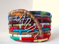 Yarn Coiled Basket, Colorful Storage Basket, Home Organization