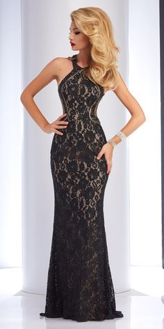 Clarisse High Neck Lace Gown