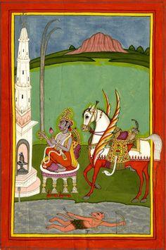 Kalki, horse avatar of Viṣṇu seated before linga shrine. Rajasthan, c.1790-1810.