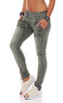 SKUTARI Luxuriöse Damen Jeans Stretch Baggy Loose Fit Damen Jeans Hose  Boyfriend offene Knopfleiste Baggy   SKUTARI ❤ Jeans   Hosen   Pinterest