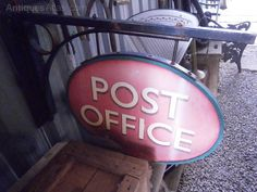 A Post Office hanging sign, perfect to hang up your own sign Industrial Signs, Office Signage, Antique Signs, Canada Post, Aluminum Signs, Hanging Signs, Kitchen Reno, Post Office, Antiques