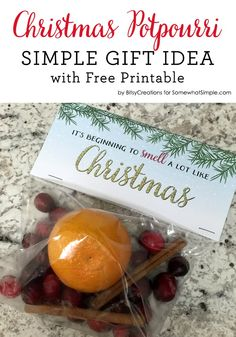 Christmas Potpourri Gift with Free Printable - Somewhat Simple