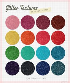 GENUINE GLITTER TEXTURES! These are so awesome. 22 free textures to download, more that you can buy, and a tutorial on how to make your own!