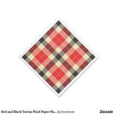 Red and Black Tartan Plaid Paper Napkins