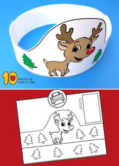 Reindeer Printable Crown Christmas Art Projects, Christmas Activities For Kids, Winter Crafts For Kids, Preschool Christmas, Kids Christmas, Preschool Activities, Art For Kids, Printable Crafts, Christmas Printables