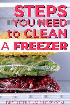 How to Clean a Freezer in 10 Simple Steps - Declutter in Minutes Freezer Organization, Organization Hacks, Organizing Tips, Kitchen Organization, Cleaning Hacks, Cleaning Routines, Dish Detergent, Baked Vegetables, Home Organization