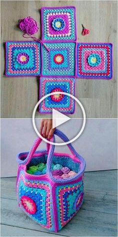 Wonderful crochet ideas for bags and household items – Diy Rustics – Ir - Knitting Dolls Free Patterns, Knitted Dolls Free, Crochet Square Patterns, Knitted Bags, Crochet Tote, Crochet Crafts, Fabric Crafts, Knit Crochet, Crochet Hooded Scarf