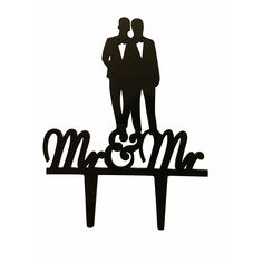 Mr. & Mr. Couple Silhouette Acrylic Wedding Cake Topper
