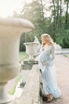 Blue dress maternity photos