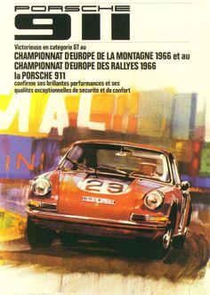 Championnat D'Europe De La Montagne (1966) - porsche vintage poster