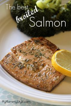 The best broiled salmon from mymommystyle.com, so quick and easy and melt-in-your-mouth delicious!  #salmon #fish #dill