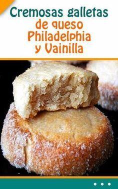 Cremosas galletas de queso Philadelphia y Vainilla Baking Recipes, Cookie Recipes, Dessert Recipes, Cookie Desserts, Mexican Food Recipes, Sweet Recipes, Mini Cakes, Cupcake Cakes, Cupcakes