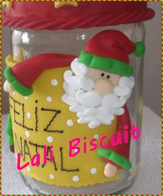 biscuit potes   Lindos Potes decorados com temas Natalinos...